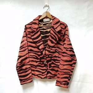 Vintage Orange Black Striped Women's Blazer Jacket
